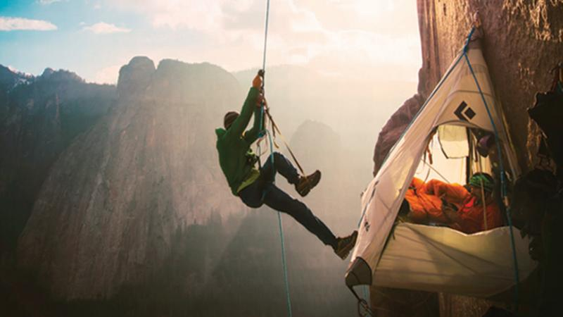 Tommy Caldwell, at his base camp in the middle of the Dawn Wall.