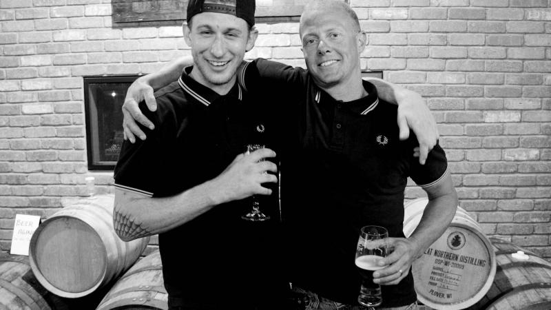 Proud Boys members Brad, left, and Eric meet at a brewpub at Southridge Mall in Greendale, Wis.