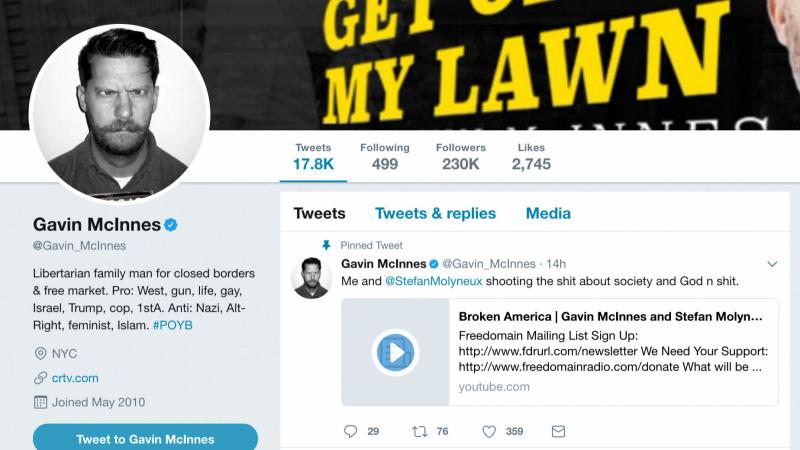 This is Proud Boys founder Gavin McInnes' Twitter profile, in which he states that he opposes Nazis, Islam and feminism and supports guns and the First Amendment.